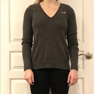 Grey Hollister V-neck sweater